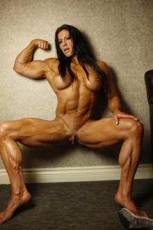 Muscle nude behind female agree