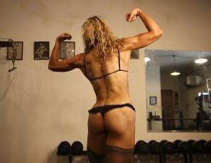 Professional female bodybuilder Denise