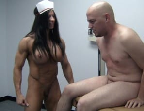 Female bodybuilder and female muscle porn star Angela Salvagno is a nurse giving a patient a physical. It starts with belly punching to test his reflexes, then moves on to verbal humiliation and CBT as she gets naked to examine him more closely. You get to examine her big biceps and pecs, ripped abs and muscular Legs.