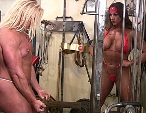 Amber steel and delphine female muscle lesbians