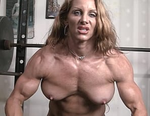 Ripped female bodybuilder ironfire works out and poses 9