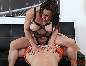 Tattooed female bodybuilder Jillian Foxxx shows why she's a female muscle porn star, posing in high-heeled shoes to show off the mature muscles of her big biceps and legs, and her ripped abs, powerful pecs and tight glutes. Then she gets into masturbating her big clit, ass play and crushing, and gives a bicep job and blow job. Watch the muscle fucking and muscle worship in close-up.