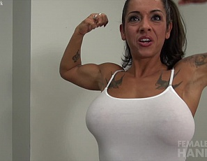 Muscle milf Bobbi amuses herself in the strangest ways. Today she has decided to hold a handjob contest! She says that who ever she can make cum first - using her sexy biceps while showing off her amazing abs, legs, quads, and sexy tattoos - is the loser. However, I don't see how anyone lucky enough to get a handjob from Bobbi is anything but a winner.