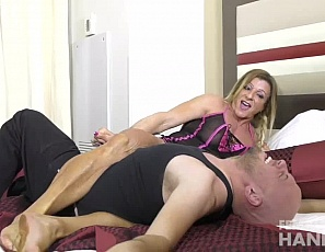 What's better than getting a handjob from a powerful, muscular female bodybuilder? Well, for Dante taking some abuse and humiliation ranks right up there! Lacey uses all of her tattooed, vascular arms to give an amazing handjob, causing Dante to shoot his load all over Lacey's arm. She can't help but rub his cum into her skin.