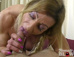 Sexy muscular female bodybuilder Lacey gives a lucky fan a blowjob. Once he sees Lacey's vascular biceps and tight abs hid cock gets rock hard. Lacey knows exactly what to do - give him a female muscle blowjob until he shoots his look all over her face!