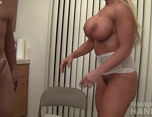 Pornstar Alura Jenson continues to giver her hung boyfriend a handjob and you can tell he's getting close to getting relief. Will Alura allow him to get off, or will she torture him with her powerful pec and not let him cum? Not only does she let him cum, she lets him cum on her pretty face - relief indeed!