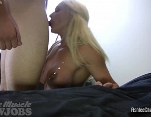 Muscular female pornstar Ashlee Chambers loves sucking cock, as is very apparent in this video. She doesn't fuck around - she puts the cock in her mouth and gives her man please until he explodes all over her muscular pecs. If you like cock sucking, you'll love this video.