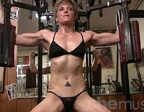 Don't let VeVe's diminutive size fool you - she's power packed! When you watch her sweat her way through working out her biceps, abs, and core - well, you'll understand how she can pack so much power on to her frame.