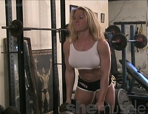 Beautiful Swedish blonde Sigrid recently stopped by the SheMuscle gym to work out. You'll love the way she works her pecs, legs, abs, and powerful biceps. Did we mention she also works out topless and in tiny white panties? Yeah. we're pretty confident we'll be visiting Sweden soon.