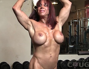 When mature Oksana starts flexing and posing, there is no stopping her excitement. It builds and grows with every pump of her hub muscles. Look at the effect it has on her clit? It gets big ans swollen and Oksana just can't help playing with it!