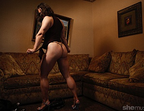 Just look at Basia! She is thick and powerful, muscled and strong. From her large muscular quads to her big thick biceps Basia is a powerhouse. Throw in those glutes and her sexy high heels and I think you'll agree that Basia is a badass.