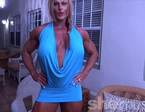 Professional female bodybuilder Nuriye is ready for your virtual session, posing for you in tiny panties and showing you the massive, tattooed, vascular muscles of her ripped biceps, calves, glutes, legs and pecs.