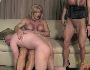 When female bodybuilders  and muscle porn stars Amazon Alura, Ashlee Chambers and Wild Kat humiliate a late male visitor, they make the most of it with belly punching, spanking and CBT, using their powerful pecs and muscular, vascular legs, glutes, biceps and abs. They even give him a hand job.