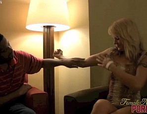 Female muscle porn star JC lets her BBC friend play with her ass and worship her biceps, pecs, abs, glutes, and leg muscles as she poses for him, smothering him as she masturbates and sits on his face, and giving him a hand job. Because that's what friends are for.