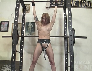 Sexy Charlotte is bound in the gym and experience pleasure from a different kind of strap-on. Charlotte's POV worshipper has rigged a wand vibrator in a strap-on harness and is giving Charlotte a delicious combination of pleasure and pain. Lovely!