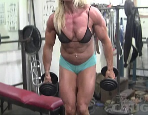 One of our favorite muscle girls is the back in the gym showing off her amazing physique and masturbating just for you. Once you're done marveling at Lacey's bulging biceps, ripped abs, and huge quads (not to mention her vascularity!) you will get a nice view of her big clit as she rubs her wet pussy. A good day at the gym!
