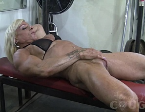 Lacey is a lot of things: ripped, vascular, powerful, strong, and amazing are just a few of the words that come to mind. However above all else she is a naughty, naughty woman! This gym masturbation proves that once and for all. Lacey rubs her huge clits, gets fucked with a fuck-stick, and takes matters into her own hands by fucking her powerful pussy with a sex toy.