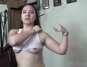 Sexy Danica Dane is in the gym working out and getting admired - that's not unusual for the pretty Danica. She goes about her workout, building her biceps, legs, abs, and glutes. When an admirer reaches out to feel her ass in POV she is hardly phased and continues working out. Luckily for us it is all captured on video!