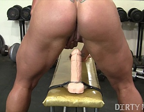 Female bodybuilder and muscle porn star Whitney rides a toy on a bench at the Gym, her ass facing you, until the butterfly tattoo on her muscular glutes starts flying. Then she turns around so you can watch the dildo penetrate her pussy in close-up and her pecs and biceps bounce while she spreads her legs and masturbates her big clit to cum again.