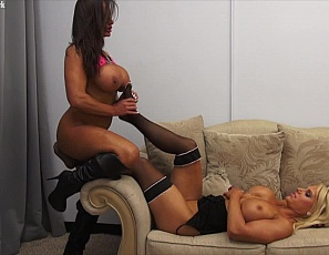 Female muscle porn stars and bodybuilders Megan Avalon and Nikki Jackson are playing with Megan's stockings, worshiping each other's muscular pecs, biceps, abs, legs, and glutes, and enjoying some girl/girl ass play. Bet you are too.