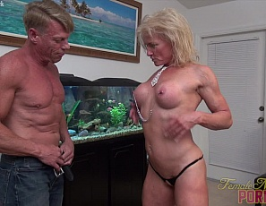 Female bodybuilder and muscle porn star Mandy Foxx gets penetrated and masturbated until she squirts, gets some clit sucking and ass play too, then gives a blow job while you watch in close-up and enjoy the mature muscles of her pecs, legs, glutes and abs.