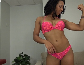 Female muscle porn star Sophia Fiore gets muscle worship of her pecs, legs, and glutes and abs, gets masturbation and some ass play, then gives a blow job while she flexes her biceps. You get to watch from his POV, in close-up.