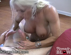 Female bodybuilder and muscle porn star Ashlee Chambers gives a hand job, rubs his cock between her pecs and on her big clit, poses to show him her ripped, vascular biceps and gives him a blow job he'll never forget.  You won't either.