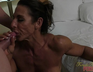 Sexy female bodybuilder Briana Beau loves to fuck - by now that much should be apparent. The way she greedily takes her lovers cock into her mouth wet pussy tell the tale of an insatiable sexual appetite. From her big biceps to her muscular legs, Briana is a fuck machine!