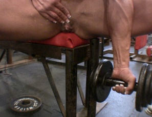 Female bodybuilder Rica's naked and working her muscular biceps and pecs at the gym when she starts masturbating her big clit, then decides to penetrate herself, getting her fist all the way into her wet pussy with her glutes and legs in the air while you look at her pussy and ass in close-up. What do you have a fistful of?