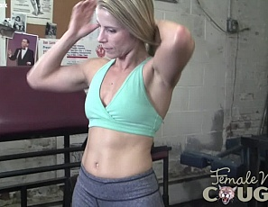 Female bodybuilder Claire enjoys being alone in the gym for leg day, because she can work out naked, and stretch the mature muscles of her pecs legs, glutes, biceps, and ripped abs. You'll like being alone with Claire because you can watch her masturbate in close-up, with her fingers and with a gigantic toy.