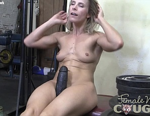 Female bodybuilder Claire is playing with a gigantic toy in the gym, so big she can hardly penetrate herself with it. Watch the mature muscles of her pecs, abs, legs, glutes, and biceps as she masturbates and plays with her ass in close-up.