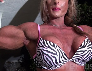 Female bodybuilder Nuriye gives you a virtual session in panties, posing and showing off her vascular biceps,, ripped abs, powerful pecs, muscle control, muscular legs and glutes. She also says you'll dream about her tonight.  Will you?