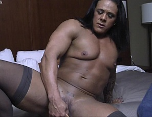 In your virtual session with female bodybuilder and muscle porn star Goddess of Iron in the bedroom, you get a close-up POV as you give her muscle worship of her pecs and ripped abs and muscular biceps and legs, and she Masturbates and uses a Toy to Penetrate herself. Then she gives you a blow job, and moans,