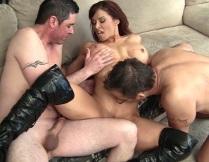 Female Bodybuilder Porn Star Devon Michaels is letting her houseboys worship her muscular legs, calves and glutes, and rewarding them with some muscle fucking - a hand job, a calf job and a bicep job. Then she masturbates, in close-up, as they rub their cocks against her pecs and abs.
