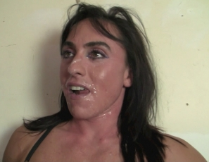 Female muscle porn star Whitney already has cum all over her face, biceps and pecs,. Now she wants more, and she gets it with a hand job, a blow job, masturbation and penetration from behind, while you watch the female muscle sex in close-up.