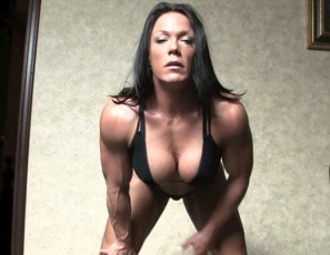 Ripped, vascular naked female bodybuilder Bella's day starts with stretching, posing, a blow job, a hand job, muscle fucking and muscle worship – how could anyone resist those biceps, pecs, legs and abs? Then she gets her wet pussy masturbated and her big clit sucked. You get to watch all the female muscle porn sex in close-up, anytime you want. Because Bella's not just for breakfast any more.