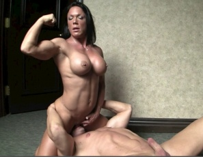 Ripped female bodybuilder Bella's getting penetrated and licked while she poses so you can look at her vascular, muscular pecs, biceps, abs legs and glutes and enjoy a close-up view of her big clit, wet pussy and ass. Then it's time for a blow job, a hand job, a toy, masturbation and 69. Wouldn't you like a porn sex breakfast with Bella, over easy?