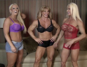 Female bodybuilders Amazon Alura, Ashlee Chambers and Wild Kat get physical with their physical therapist. They all stretch their leg muscles by squatting on his erect cock – it's a reverse gangbang. Then he gets a hand job and a lift and carry blow job, which helps them work their ripped, vascular abs, pecs, glutes and biceps. Enjoy more group female muscle porn sex, muscle fucking and muscle worship soon.