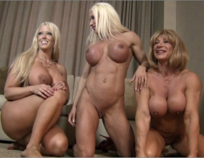 The ripped female bodybuilder threesome continue their reverse gangbang with lift and carry blow jobs to make their abs even more muscular, then group scissoring. Ashlee rides cock and gets penetrated as she poses, and Wild Kat gives their