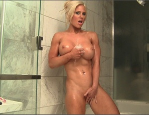 Megan Avalon's just competed in the USAs, and needs a hot shower to revive her tired muscles.