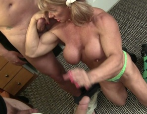 Muscular female bodybuilder Wild Kat gets payback for her Scout troop with humiliation, belly punching and CBT, requiring muscle worship and a donation via blow job, hand job and bicep job. She's collecting for cookies by squeezing milk out of three donors. You see the group donations for a good cause in close-up.