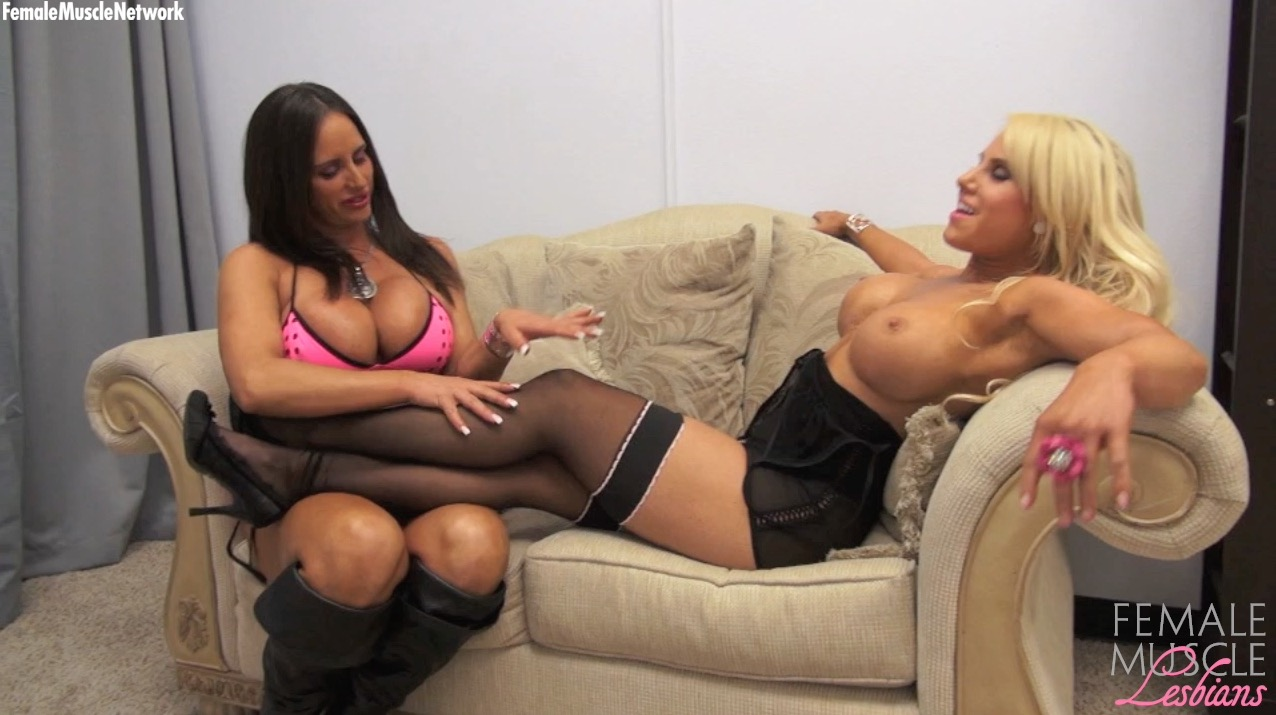 Nikki Lesbian Porn - Female bodybuilders and muscle porn stars Megan Avalon and Nikki Jackson  are hanging out in the bedroom, posing, worshiping each other's muscle  pecs, ...